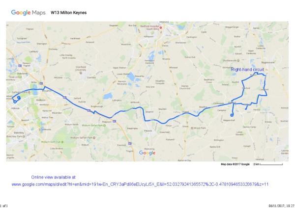 W13 Meppershall to Milton Keynes Map Wanderbus